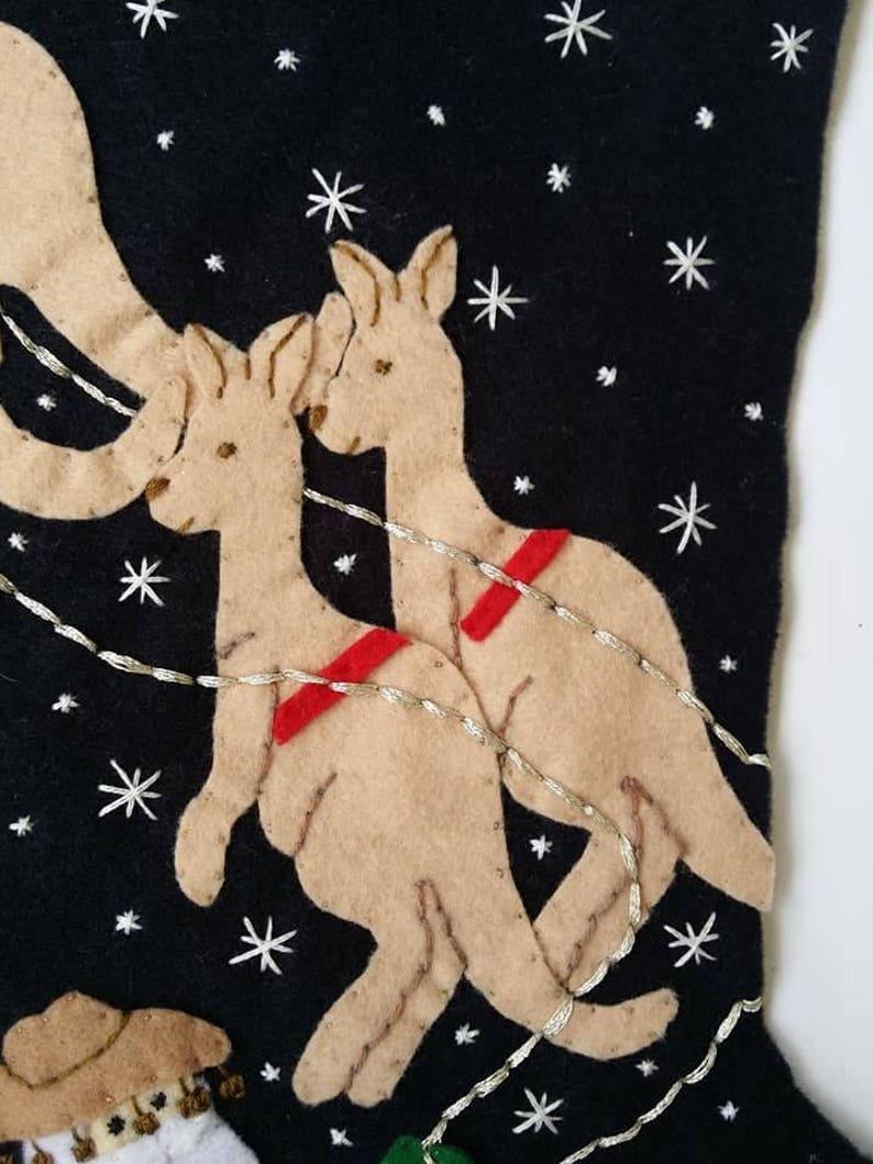 Personalized made to order Santa in Australia felt Christmas stocking