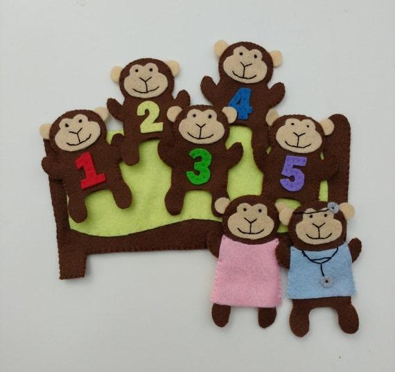 Five Little Monkeys Finger Puppet Set Etsy