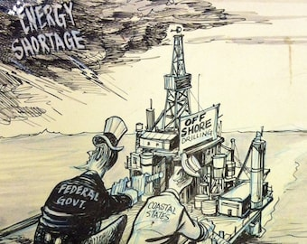 70s Political satire cartoon art environmental ecology crisis Bil Canfield comic cartoonist signed illustration Uncle Sam vs coastal states