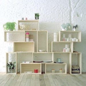 open modular shelf shelves shelving bookshelf modern stacked cube tiered storage organization repurposed wood box crate bookcase partition