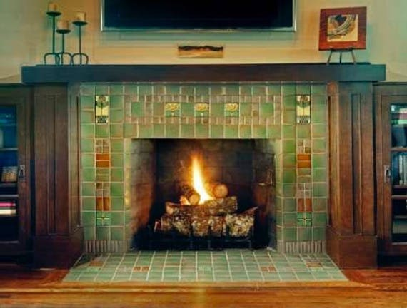 Items Similar To Antique French Tile Fireplace Mantel