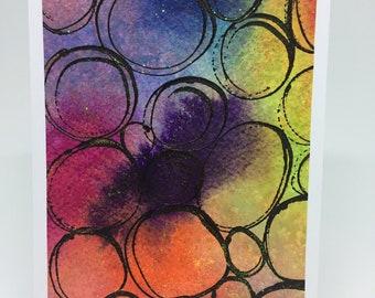 Acrylic Painting - 3 Art Greeting Cards Bonus Pack, Abstract Pebbles, Rainbow Beach