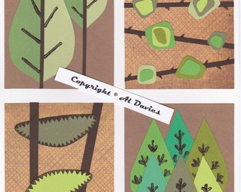 1950s Retro Style Postcards (set of 4) Nature 1.