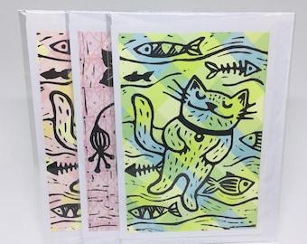 3 Lino Print Greeting Cards Bonus Pack - Original Artwork, Catnaps and Flower Vase