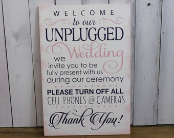 Wedding Sign/Unplugged Wedding Sign/Turn Off Cell Phones/Cameras/Ceremony Sign/Wood Sign/Large Sign/U Choose Colors/Pink/Navy