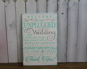 Wedding Sign/Unplugged Wedding Sign/Turn Off Cell Phones/Cameras/Ceremony Sign/Wood Sign/Large Sign/U Choose Colors/Seafoam