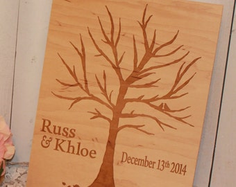 Wedding Sign/Guest Tree/Engraved/Wood Sign/Leaf Tree/Thumb Print/Wedding Tree/Personalized and date
