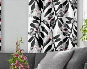 Curtain white black leaves shining silver birds Cafe curtains Kitchen valances Curtain drapes Scandinavian design Home decor