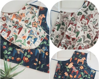 Dala Horses Apron for adults and kids Scandinavian design Cotton apron navy blue sand ivory beige red blue green