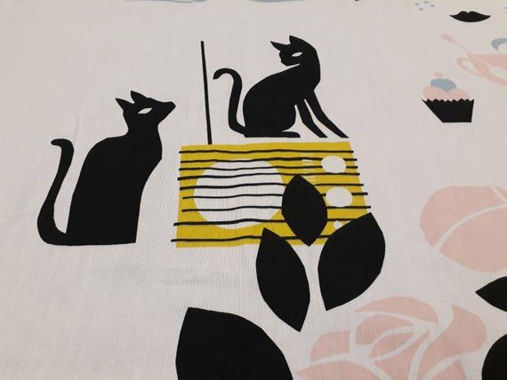 Vorhang Panel weiß gelb schwarz rosa Katzen Radio Modern Decor | Etsy