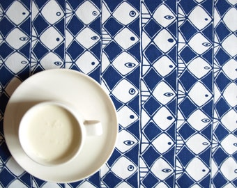 Tablecloth white navy blue abstract fishes MOISTURE resistant , also napkins, table runner , pillow , curtains available, great GIFT