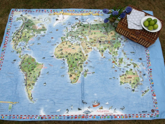 Picnic blanket large world map flags modern city picnic extra etsy gumiabroncs Images