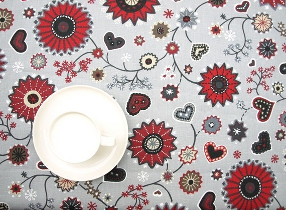 napkins Christmas tablecloth beige grey white red hearts wings Modern Scandinavian Design runner great GIFT pillow curtains