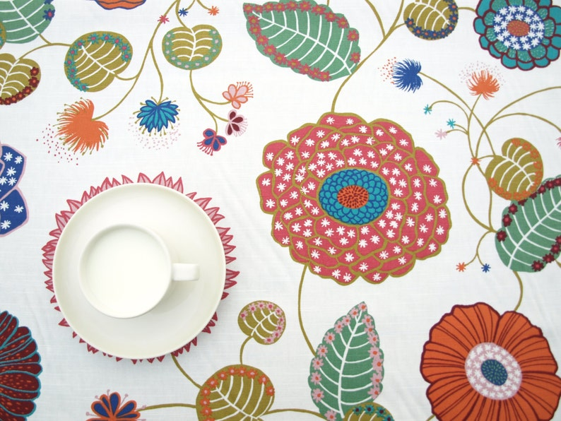Tablecloth white green emerald purple Floral Botanical Modern Scandinavian Design curtains available great GIFT runners also napkins