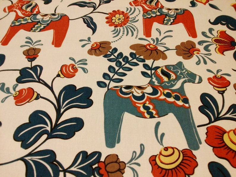 table linen great GIFT Curtain panel white blue brown orange bright colorful Dala Horses Modern House Decor Cafe curtain Kitchen valance