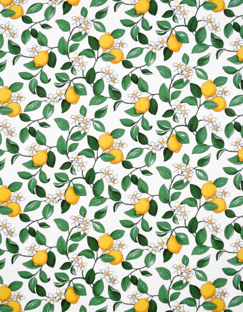 Tablecloth white yellow lemons green leaves Botanical image 0