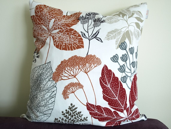 Pillow Cover White Burgundy Red Brown Black Grey Beige Leaves Etsy Best Red And Brown Decorative Pillows