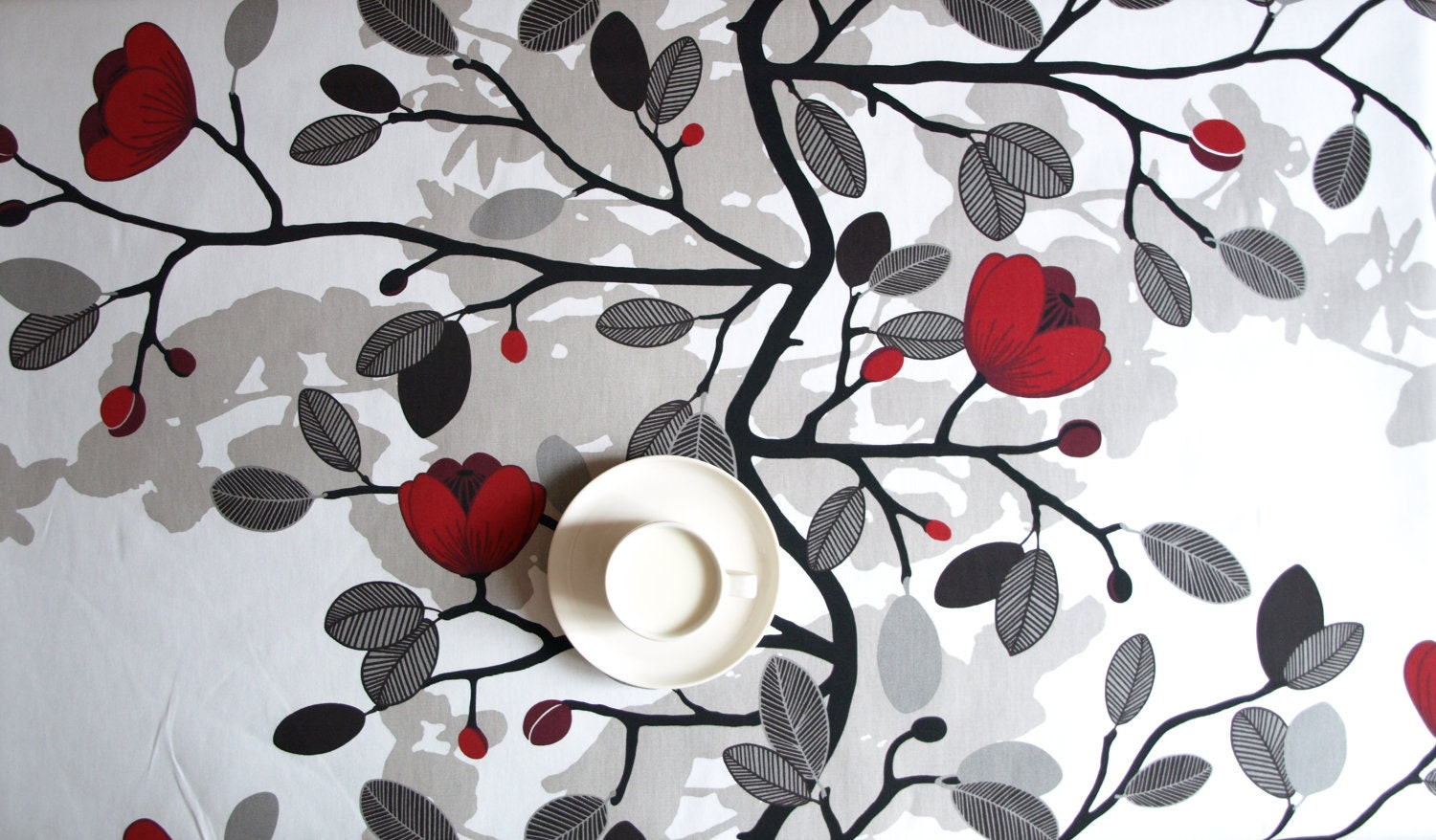 Tablecloth White Black With Red Flowers Beige Shadow Also Etsy