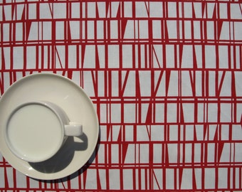 """Tablecloth white red abstract lines stripes checked 37""""x56"""" or made to order, runner , napkins , curtains , pillows available, great GIFT"""