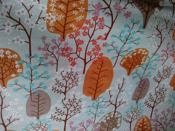 Lin Rideau panneau gris orange bleu marron blosom arbre Cafe | Etsy