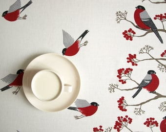 Tablecloth white red Robins Rowan tree Birds Modern Scandinavian decor , runner , napkins , pillow , curtain available, great GIFT