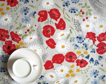 Linen tablecloth natural linen poppy meadow red white flowers Eco Friendly , napkins placemats runners pillows curtains available, eco GIFT