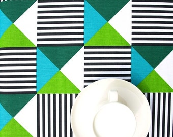 Tablecloth white black stripes green moss green turquoise blue triangles , table runner , napkins , pillows , curtains available, great GIFT