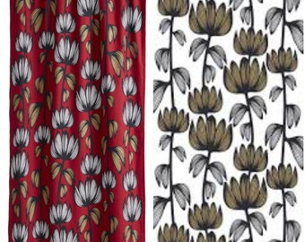 Curtain panel red white sand beige black flowers Floral Modern Decor Cafe curtain Kitchen valance , runner , napkins available, great GIFT