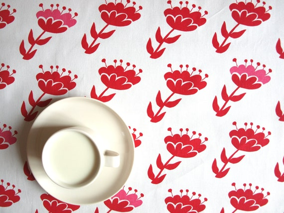 great GIFT napkins Tablecloth white abstract beads pink red jewelry 37x37 or made to order your size curtains available table runner