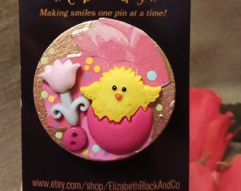 Easter chick pin Chick in purple shell 36 Easter chick brooch