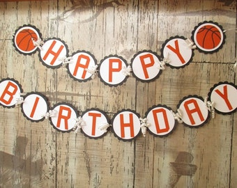 Happy Birthday Basketball Banner, Basketball Birthday Sports Banner Garland, Basketball Birthday Party Theme Decorations in Orange & Black