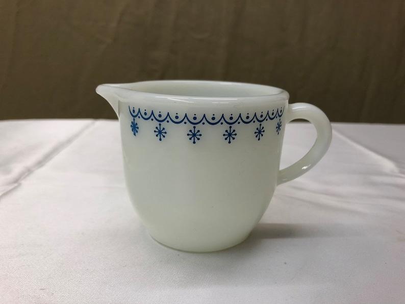 Vintage Pyrex Milk glass Creamer White Blue Snowflakes 3 oz image 0