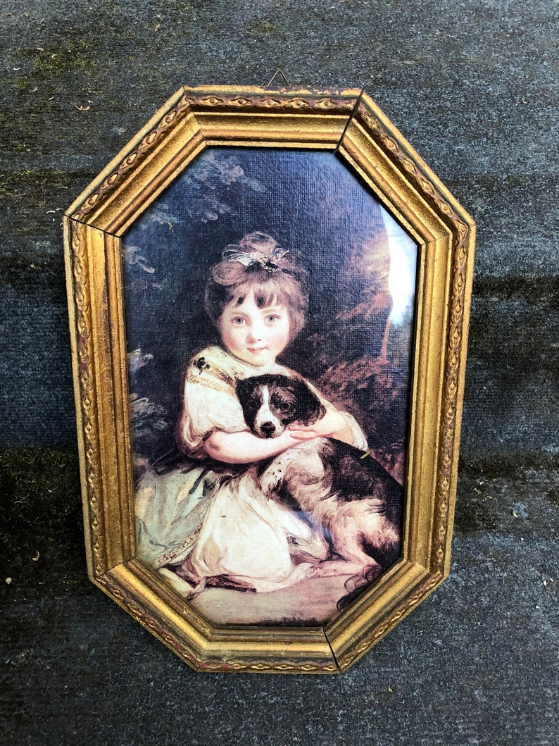Vintage Print Victorian Girl and Puppy Gilded Octagonal Frame image 0