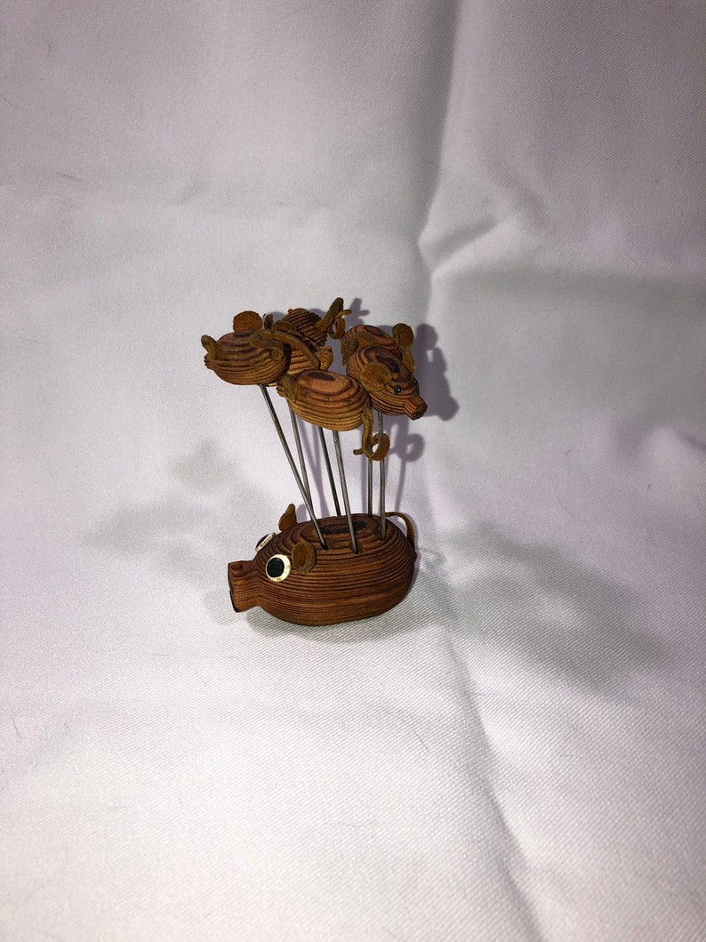 Vintage Cryptomeria Wood Pig Hors d'oeuvres Fork Leather image 0