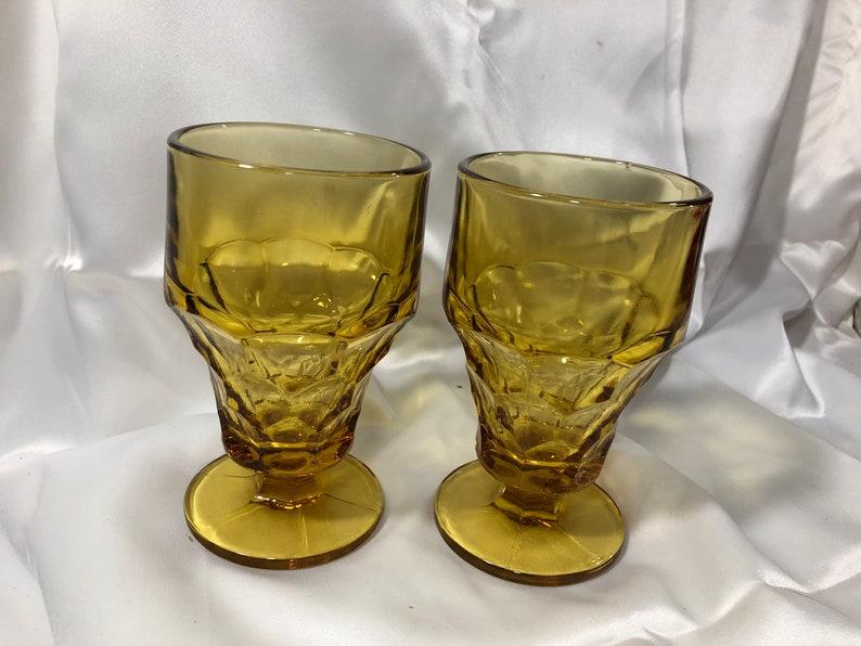 Anchor Hocking Georgian Honeycomb Amber Tumblers Footed 12 image 0