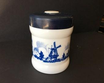 "Vintage Valkenswaard Holland Opaline Glass Cigar Humidor Tobacco 6"" Tall Blue White Transfer Ware"