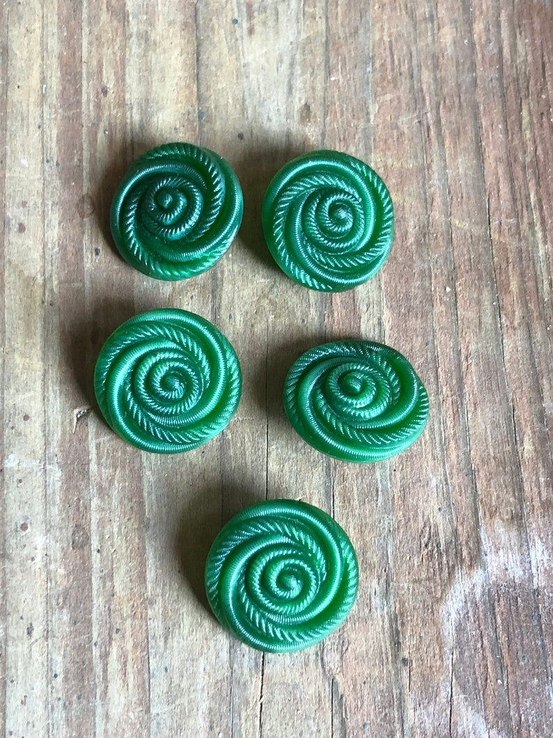 Vintage Glass Spiral Buttons LOT of 6 Sewing Crafts image 0