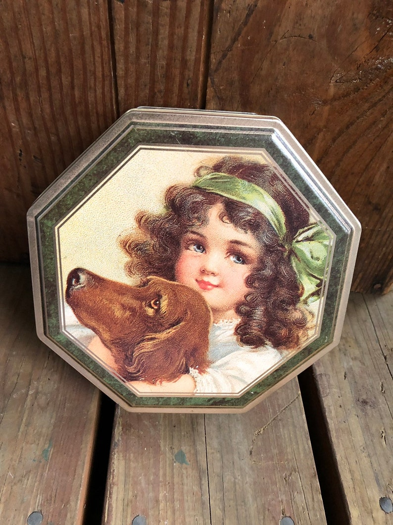 Vintage Octagon Cookie Tin Girl and Dog Puppies image 0