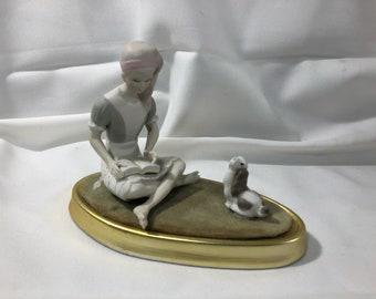Mid Century Ardalt Figurine Girl Reading Book Dog Porcelain Japan Hand Painted Lenwile China