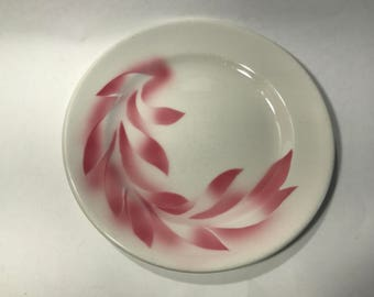 Vintage Syracuse China Restaurant Dinner Plate Pink Leaves Made in USA 10 Inches
