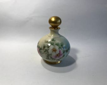 Vintage Ceramic Bottle With Stopper Hand Painted Flowers Signed N Rhodes B & Co. France
