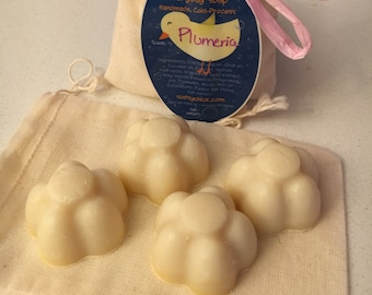 "Plumeria scented ""Everyday Soap"" Four Miniature Flowers - Handmade Cold Process Homemade"