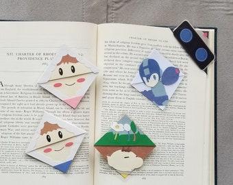 Laminated Super Smash Bros Corner Bookmarks: R.O.B. Mr. Game and Watch, Pikmin, Olimar, Megaman, Ice Climbers