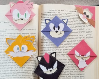 Sonic the Hedgehog, Shadow, Knuckles, Tails, Amy Rose, Dr. Eggman Laminated Corner Bookmark