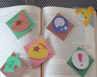 Isabelle, Fossil, Leaf, Bell Bag, Pitfall Seed Animal Crossing Laminated Corner Bookmark