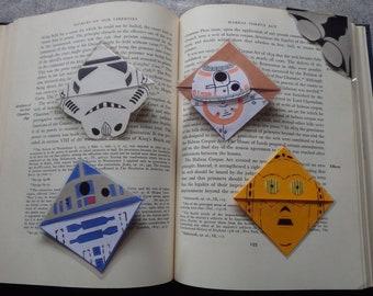 Star Wars Laminated Corner Bookmarks (BB8, R2D2, C3PO, Darth Vader, Storm Trooper, Boba Fett)