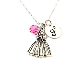 Fairy Godmother Necklace - Cinderella Charm - Swarovski Birthstone - Personalized Initial Necklace - Sterling Silver Jewelry - Gift for Her
