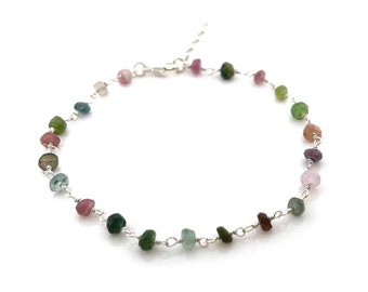 Tourmaline Gemstone Layering Bracelet - Wire Wrapped Rosary Chain Bracelet - Sterling Silver Jewelry - Gift for Her