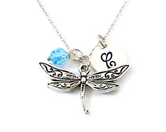 Dragonfly Necklace -  Dragonfly Charm - Birthstone Necklace - Personalized Gift - Initial Necklace - Sterling Silver Jewelry - Gift for Her
