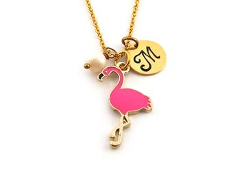Exotic Bird Pink Flamingo Charm-  Birthstone Necklace - Personalized Initial Necklace - Gold Jewelry - Gift for Her